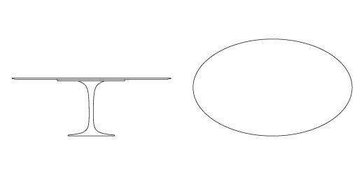 tavolo ovale saarinen misure