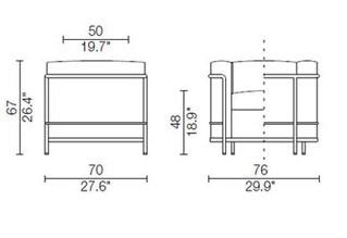 Poltrona Le Corbusier LC2 dimensioni