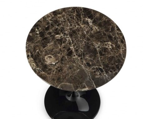 tavolo tulip nero con marmo emerador dark marrone scuro