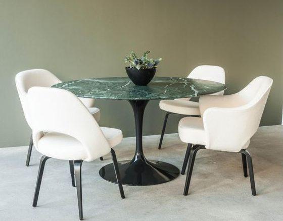tavolo tulip nero con marmo verde alpi